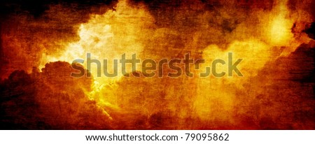 Dramatic apocalyptic background - glowing dark red clouds, hell - stock photo