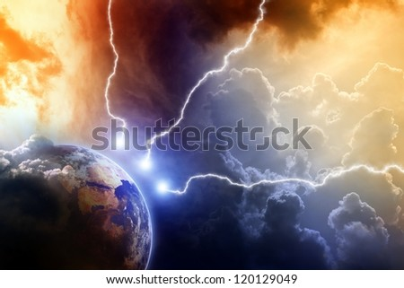 Dramatic apocalyptic background, mayan end of time, lightnings hits planet earth, armageddon. Elements of this image furnished by NASA. - stock photo