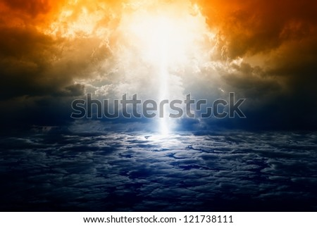 Dramatic apocalyptic background, mayan end of world, bright lightning, armageddon. - stock photo