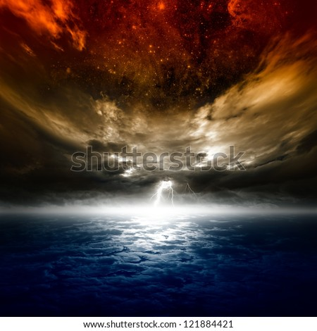 Dramatic apocalyptic background, mayan end of world, bright lightning, armageddon. Elements of this image furnished by NASA/JPL-Caltech - stock photo