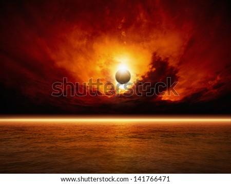 Dramatic apocalyptic background - sun eclipse, red sunset, dark sky, red sea, glowing horizon - stock photo