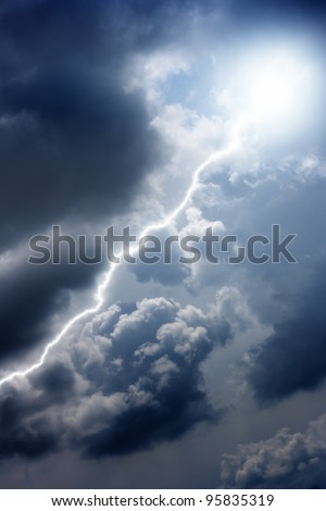 Dramatic background - bright lightning in dark sky - stock photo