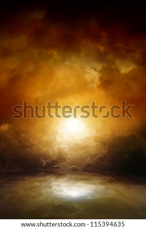 Dramatic background - dark moody sky, bright sun with reflection in water. Armageddon, apocalypse, hell. - stock photo