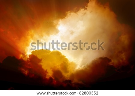 Dramatic background - dark orange sky and clouds, armageddon, hell - stock photo