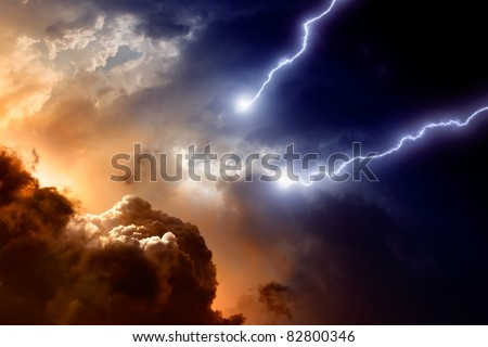 Dramatic background - dark sky and clouds with two lightnings, hell, armageddon - stock photo