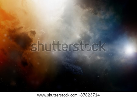Dramatic background - dark sky, bright light - stock photo