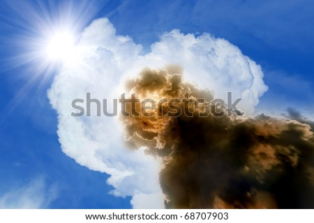 Dramatic background - good vs evil - stock photo