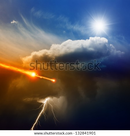 Dramatic background - lightning in dark stormy sky, sun shines from above,  asteroid, meteorite impact - stock photo