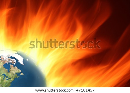 Dramatic background of burning earth with large flames - stock photo
