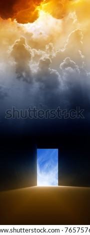 Dramatic background - open doorway, bright light from sky - stock photo