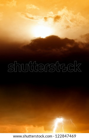Dramatic background - red sunset, dark clouds, black copyspace for text - stock photo