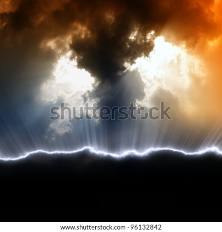 Dramatic background with black copyspace. Dark sky, sunlight from above, lightning.