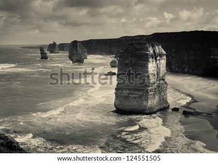 dramatic beautiful 12 apostles in Australia.toned picture - stock photo
