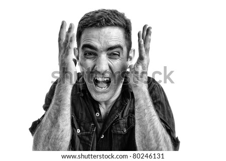 Dramatic black and white image of an angry man yelling isolated on a white background - stock photo