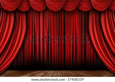 Dramatic Bright Red Stage Drapes With Many Swags - stock photo