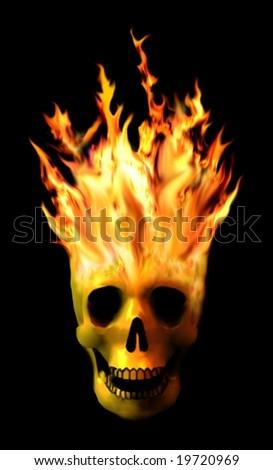 Dramatic burning skull isolated on black - stock photo