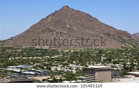 Dramatic Camelback Mountain in Phoenix, Arizona a popular hiking destination - stock photo