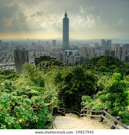 Dramatic cityscape of Taipei  and trees in park, Taiwan, Asia. - stock photo