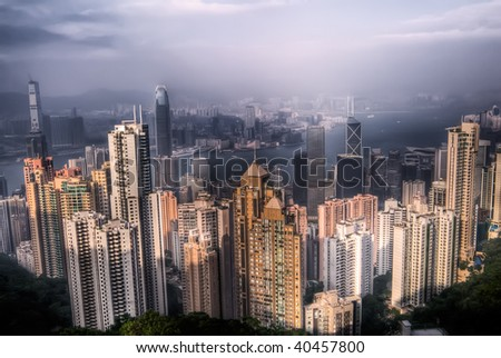 Dramatic cityscape with skyscraper and blue sky in Hong Kong.