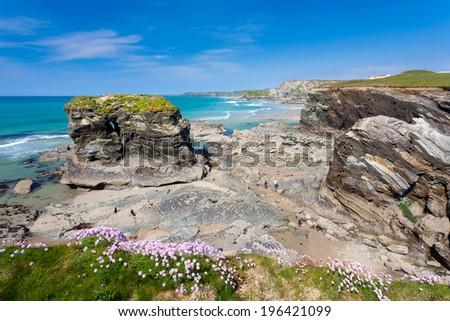 Dramatic cliffs and sea stacks at Trevelgue Head Porth near Newquay Cornwall England UK Europe - stock photo
