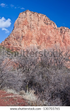 Dramatic cliffs in Kolob Canyon in the winter time - stock photo