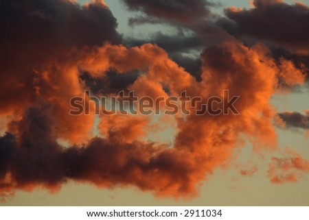 Dramatic cloud formation on late sunset