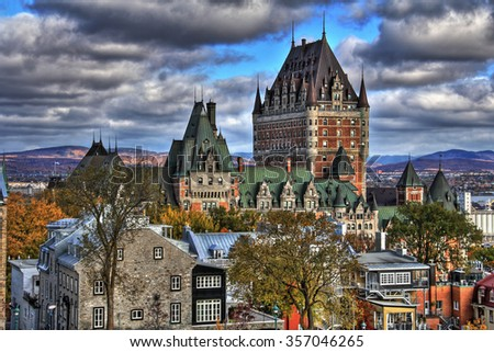 Dramatic clouds HDR in Old Quebec - Canada. High Dynamic Range picture. - stock photo