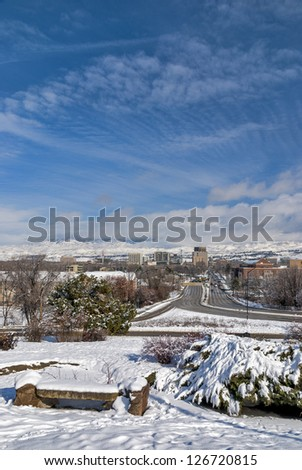 Dramatic clouds lead to the Idaho state capital - stock photo