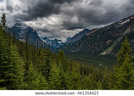 Dramatic clouds over Mount Edith Cavell in Jasper National Park, Alberta, Canada