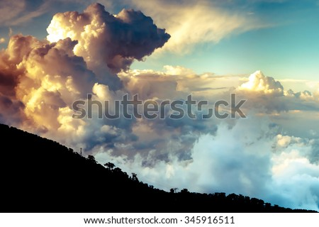 Dramatic clouds over Troodo mountains. Cyprus - stock photo