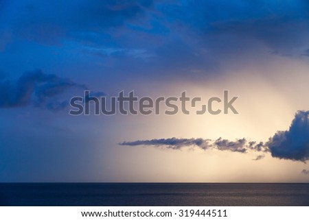 Dramatic cloudscape sea, summer morning sky background - stock photo
