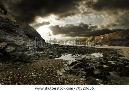 Dramatic coastline landscape of Port Isaac in Cornwall - stock photo