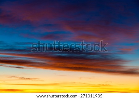 Dramatic cotton candy sky cloud texture background - stock photo