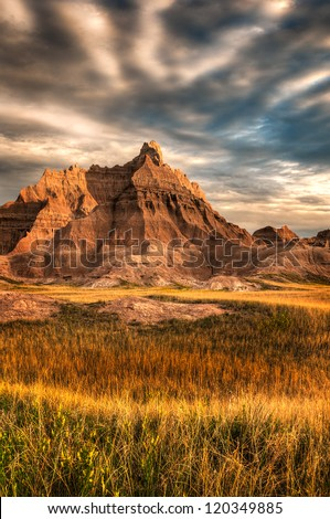 Dramatic Dawn - Badlands National Park in South Dakota, USA - stock photo