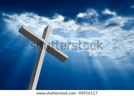 Dramatic deep blue Jesus light shining down on cross - stock photo