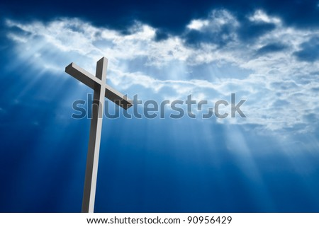 Dramatic deep blue Jesus light shining down on cross - stock photo