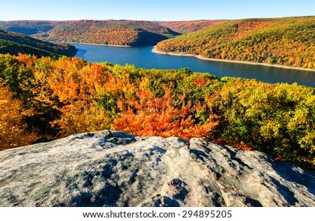 Dramatic Fall Overlook at Allegheny National Forest  - stock photo
