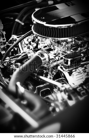 Dramatic full profile engine block from a classic muscle car. - stock photo