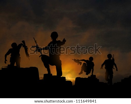 Dramatic illustration of soldiers advancing at dawn or dusk