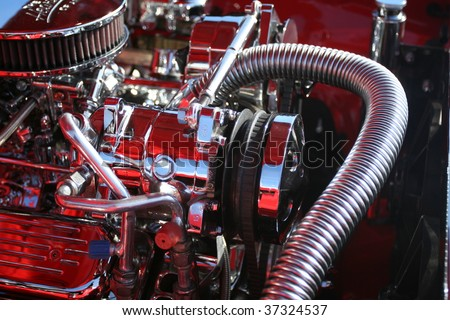 Dramatic image of a big block racing engine - stock photo