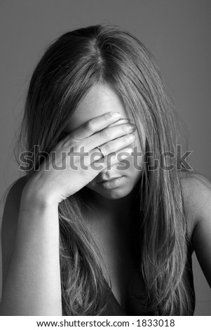 dramatic image of troubled teenager - stock photo