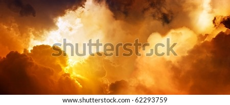 Dramatic impressive background - sunset in heaven - stock photo