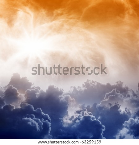 Dramatic  impressive view from heaven with bright sun and clouds - stock photo