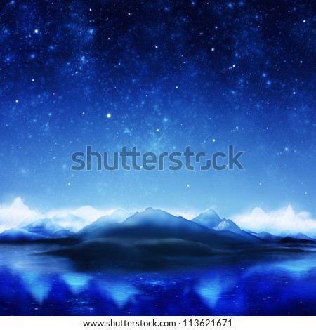 dramatic landscape in night time - stock photo