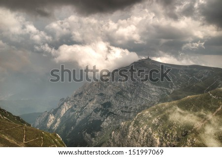 Dramatic landscape in the mountains in HDR - soft focus