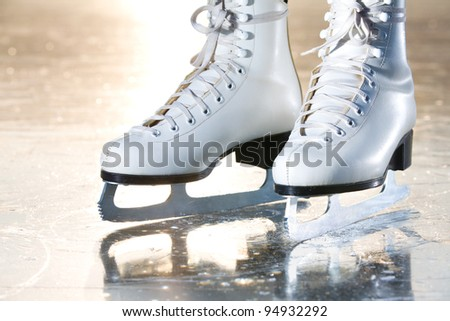 Dramatic landscape natural shot of ice skates - stock photo