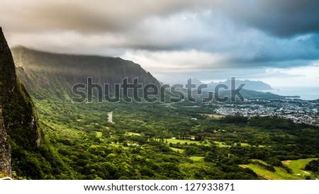 Dramatic landscape of Nuuanu Pali, Oahu, Hawaii - stock photo