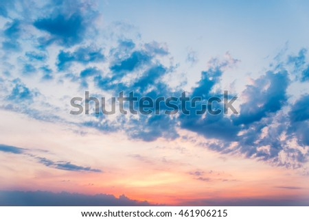 Dramatic landscape sunset. Bright colorful sky and clouds