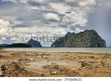 dramatic landscape with sea and stormy clouds, Thailand