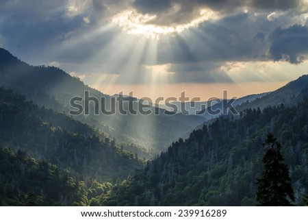 dramatic late afternoon sun rays Great Smoky Mountains - stock photo